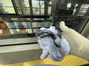 ボランティアによって「くめがわ電車図書館」の大掃除が行われている様子
